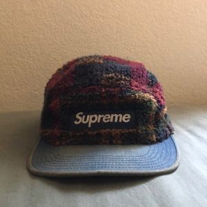 5 panel box logo supreme hat